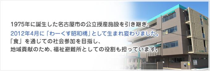 1975年に誕生した名古屋市の公立授産施設を引き継ぎ、2012年4月に「わーくす昭和橋」として生まれ変わりました。「食」を通じての社会参加を目指し、地域貢献のため、福祉避難所としての役割も担っています。